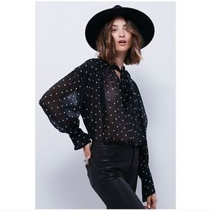 Free People One Star Point Tie-neck Blouse